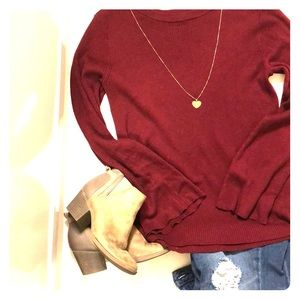 Burgundy sweater with bell sleeves only